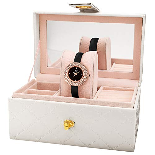 - Burgi Women's BUR195 Gift Set Swarovski Crystal & Diamond Accented Watch - Comfortable Leather Strap with a Free Mirrored Jewlery Gift Box (Rose Gold & Black)