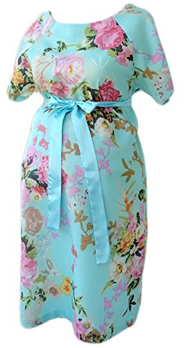 Maternity Gown Hospital Labor Delivery Breastfeeding Skin to Skin S/M, Turquoise