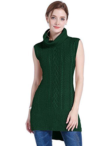 v28 Women's Cowl Neck Cable Knit Stretchable Sleeveless Tops Pullover Sweater (US Size 0-4, Dark ()