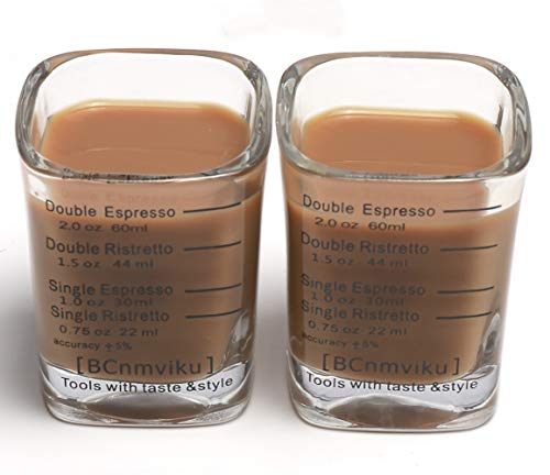 BCnmviku Espresso Shot Glasses Measuring Cup Liquid Heavy Glass for Baristas 2oz for Single Shot of Ristrettos (2 pack) by BCnmviku (Image #1)