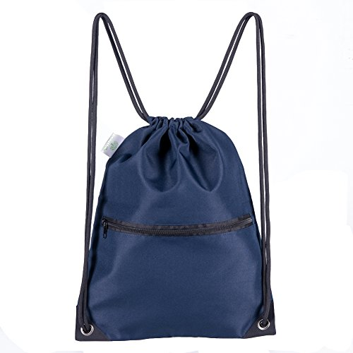 HOLYLUCK Men & Women Sport Gym Sack Drawstring Backpack Bag - Navy Blue