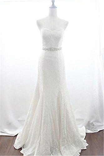QueenDream Iridescent Rhinestone Belt Pearl Bridal Belt Light Ivory Wedding sash Wedding Bride sash by QueenDream (Image #4)