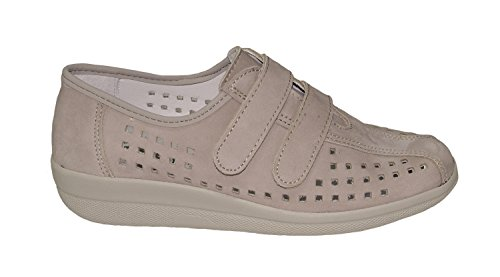 Franken Shoes Ladies Velcro Grigio In Pelle Taglia 36-42 Grigio Sostituibile