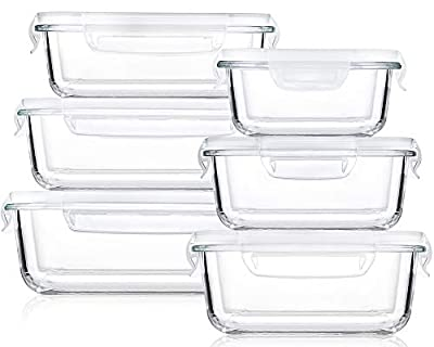 Bayco Large Glass Food Storage Containers with Lids, [12 Piece] Glass Meal Prep Containers, Airtight Glass Bento Boxes, BPA Free & FDA Approved & Leak Proof (6lids & 6Containers)(Square & Rectangle)