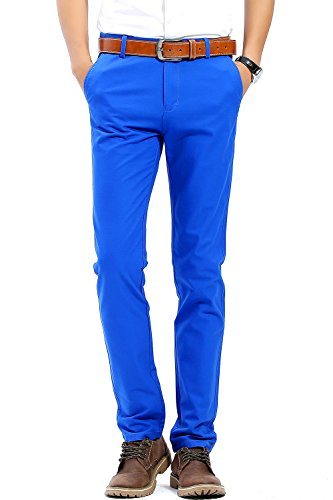 INFLATION Men's 100% Cotton Slightly Stretchy Slim Fit Casual Pants, Flat Front Trousers Dress Pants for Men Bright Blue