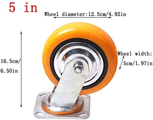 Byrhgood 4 Pieces Heavy Polyurethane Furniture Casters,Flatbed Truck Trolley Industrial Wheel,Replace Accessories Brake Castor Wheels Mute Color : D, Size : 5in