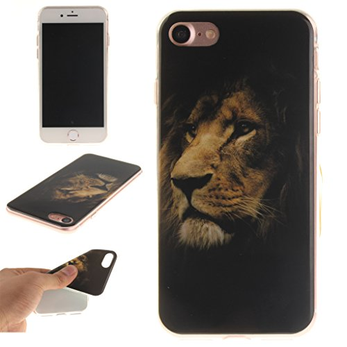 "Coque Cover iPhone 7, IJIA Ultra-mince Lionhead TPU Doux Silicone Bumper Case Shell Coque Housse Etui pour Apple iPhone 7 (4.7"") + 24K Or Autocollant"
