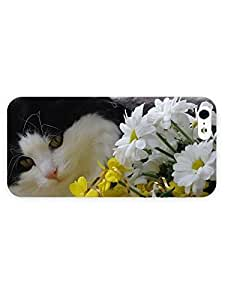 3d Full Wrap Case for iPhone 5/5s Animal Cat Looking At The Flowers