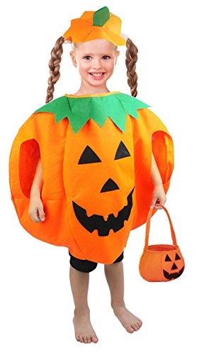 Pumpkin Costumes For Toddler (MARIAN Halloween Costume for Kids 4-8 Years Pumpkin Toddler Boys Girls Costume)