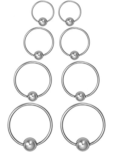 Forbidden Body Jewelry 8-Pack of Every-Day Piercing Rings: 20g 6/8/10/12mm Surgical Steel Captive Bead Hoop Rings Pairs