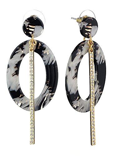 (Women's Enamel Marble Pattern Oval Gold-Tone Bar Dangle Pierced Earrings, Black/White)