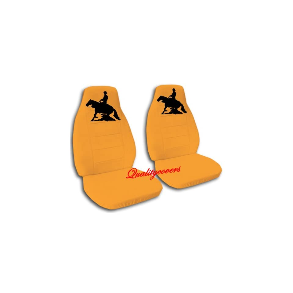 Orange Reining Horse seat covers. 40/60 split seat covers for a Ford F 150 Super Crew cab. Center console included