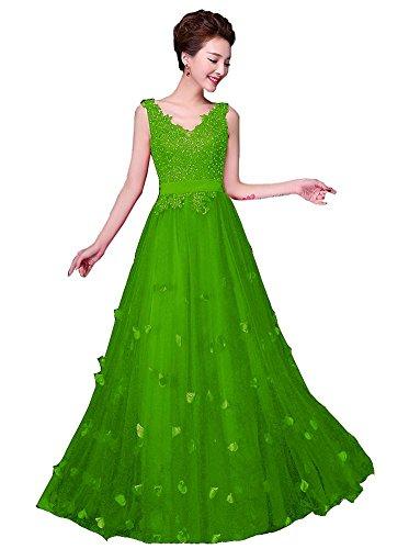 Robe Beauty de Longue Soire V A Cordon Fleurs Emily Sans col Vert ligne manche Double serrage 7Hr7vxqwO