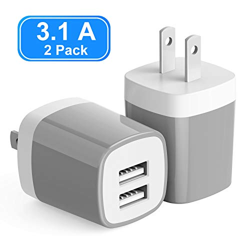 USB Wall Charger, Vogek 3.1A 2-Pack Dual Port USB Wall Charger Universal Power Adapter Compatible with Samsung Galaxy, LG, HTC, Huawei, Moto, Kindle, MP3, Bluetooth Speaker Headset - Gray -