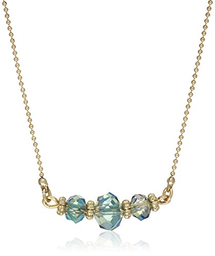 Lonna & Lilly Give A Little Love Worn Gold/Green Beaded Pendant Necklace, 16'' + 3.5'' Extender by Lonna & Lilly