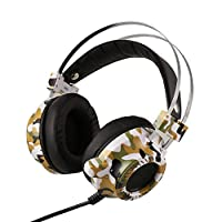 Hosmat Gaming Headset 3.5MM Over-Ear Stereo Headphones with Noise Cancelling Mic & LED Light for Laptop Computer Tablet (Camouflage)