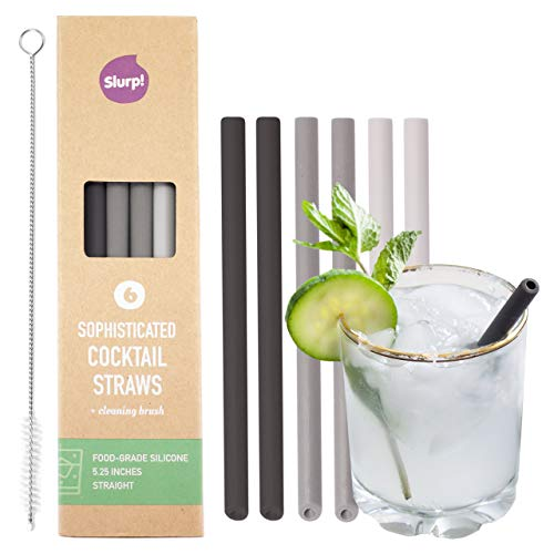 Slurp Straw 6 Pack and Cleaning Brush, 5.25-inch Extra Short Reusable Silicone Drinking Straws or Stirrers for Cocktails, Coffee and Small Glasses - Certified Food-Grade - Midnight-Smoke-Silver
