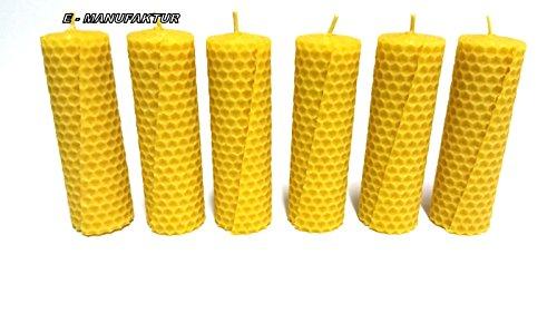 SET - 6 Stück Bienenwachskerzen aus Wabenplatten 100 x 32 - 100 % Bienenwachs