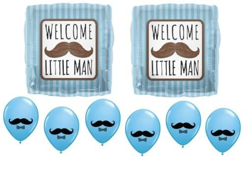 LoonBalloon BOY Welcome Little MAN MUSTACHE Stash BASH Gender REVEAL Mylar Latex BALLOONS