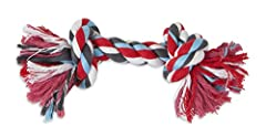 Booda 2-knot rope bone dog toy can be used for interactive play or as solo dog chews. Rope bones are fun and easy way to floss dogs gums and help prevent dental disease in your canine companion. Rope bones have tightly twisted yarns that prov...