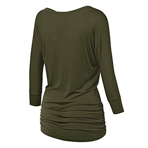 Sleeve Neck Teen Tops with Olive Women Shirring Blouse Petite Girls O fold Needra Side Green Long w8SgqvF