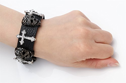Szxc Jewelry Women's Black Leather Crystal Skull Cross Adjustable Bangel Bracelet Biker Jewelry Photo #2