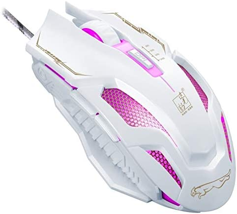 Length Color : White, Size : One Size 1.8m USB 6-Keys 2400DPI Four-Speed Adjustable Backlight Wired Optical Gaming Mouse