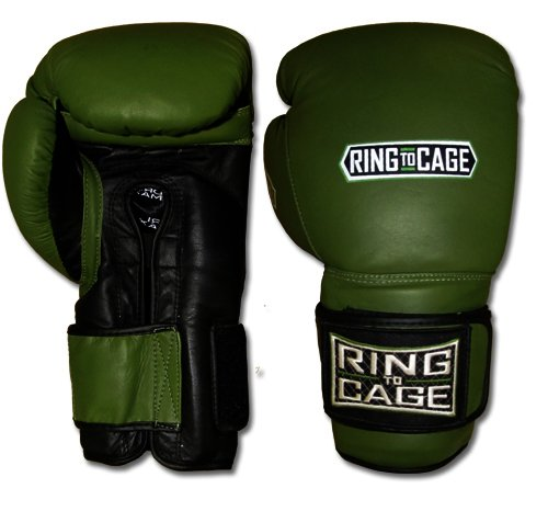 34oz Deluxe MiM-Foam Sparring Gloves - Safety Strap for Muay Thai, MMA, Kickboxing, Boxing (Marine Green/Black)