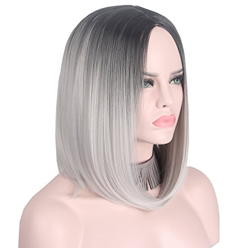 Anxin Ombre Wigs Middle Part Full Head Synthetic Bob Short Gray Wigs for Women No Front Lace (28CM, Grey)