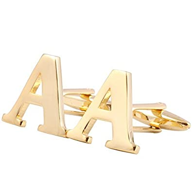Capital Letter Shape Cufflinks for Men Shirts 18K Gold Plated Cuff Button Alphabet Letter A-Z Gold Chenghai Capital LetterA-Z2