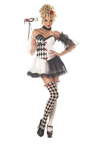 [California Costumes Women's Le Belle Harlequin Costume, Black/White, Small] (Le Belle Harlequin Adult Costumes)