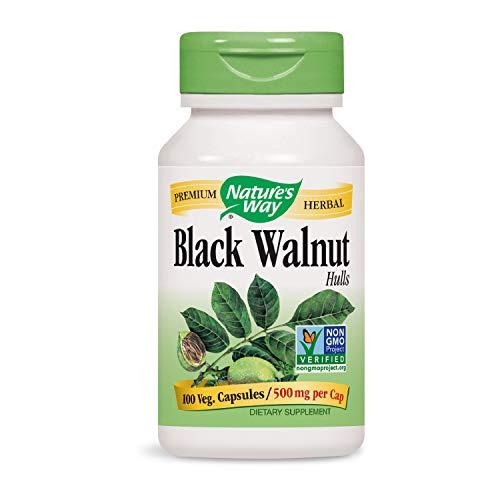 Nature's Way Black Walnut Hulls 500 mgper capsule, 100 Vegetarian Caps (Packaging May Vary)