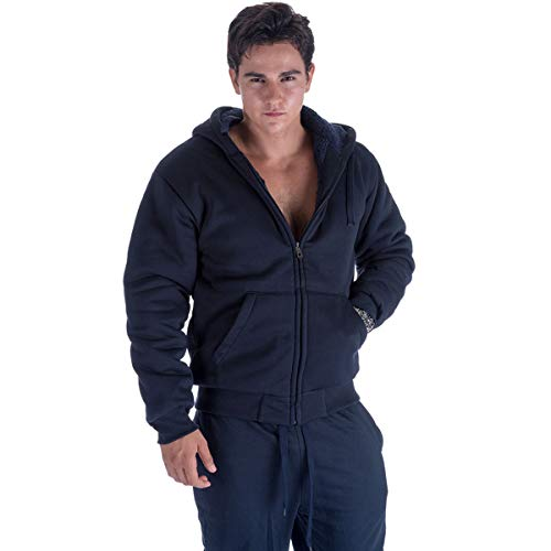 Leehanton Hooded Sweatshirt Men Full Zip Sherpa Lined Heavyweight Soft Solid Hoodie Jackets Navy XL