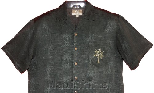 Ukulele Palm Men's Hawaiian Aloha Embroidered Jacquard Rayon Shirt in Charcoal Green - S - Embroidered Jacquard Shirt