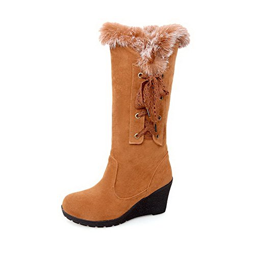 Toe Frosted Mid Top Brown Closed Boots High Heels Women's Round Solid AgooLar wf1Tq7T