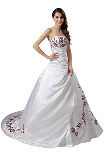 RohmBridal Womens Satin Red Embroidery Wedding Dress Bridal Gown at Amazon Womens Clothing store: