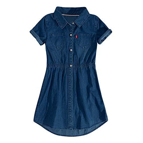 (Levi's Girls' Big Short Sleeve Western Dress, Cobalt Blue S)