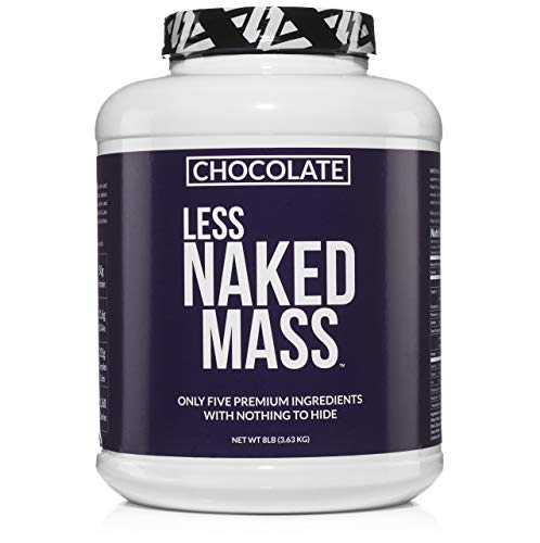 CHOCOLATE LESS NAKED MASS - All Natural Weight Gainer Protein Powder - 8lb Bulk, GMO Free, Gluten Free & Soy Free. No Artificial Ingredients - 1,360 Calories - 11 Servings (Best Mass Gainer Ever)