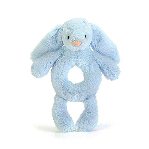 Jellycat Bashful Blue Bunny Plush Baby Ring Rattle (Plush Rabbit Blue Bunny)