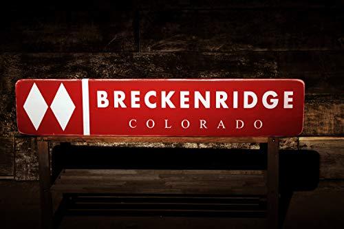 Breckenridge Colorado Snow Ski Double Diamond Sign Rustic Hand Made Wooden Sign