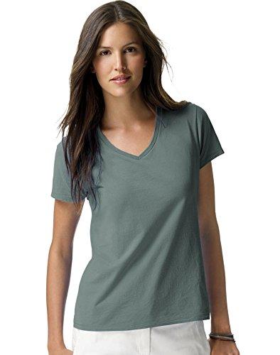 - Hanes Women's Nano- V-Neck T-Shirt Vintage Green Small