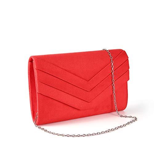 Red Vintage Clutch - Gesu Women Vintage Velvet Envelope Clutch Evening Bag Wedding Party Dress Purse (RED-1)