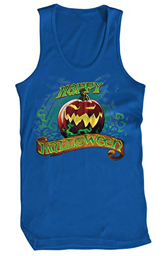 Amdesco Men's Happy Halloween Jack-O'-Lantern Tank Top, Royal Blue Large
