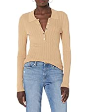 The Drop Women's Dara Slim Fitted Variegated Rib Polo Sweater