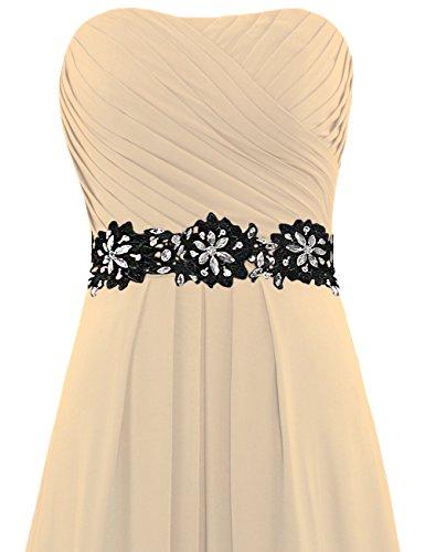 ANTS Long Chiffon Dresses Champagne Strapless Evening Weddings Women's for URwrzU