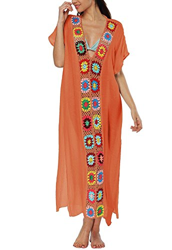 Women's Colorful Cotton Embroidered Turkish Kaftans Beachwear Bikini Cover up Dress (B-Orange)