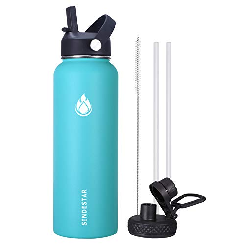 Sendestar Wide Mouth Water Bottle - 40 oz with New Straw Lid and Spout Lid, Stainless Steel, Vacuum Insulated, Thermos Mug, Leak Proof, Sweat Free (Sky Blue)