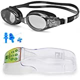 ZABERT W5 Mens Womens Swim Goggles,Black Smoke Lens Swimming Goggles for Women Men Youth Adult Kids Girls Boys - Clear Lens Anti Fog UV Large Size Wide View NO Leak Comfort- Indoor Open Water