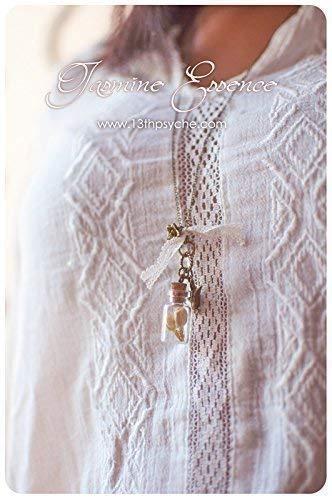 Collar botella jazmín, flores secas en collar de botella collar collar, collar de terrario de vidrio frasco collar cristal botella colgante miniatura: ...