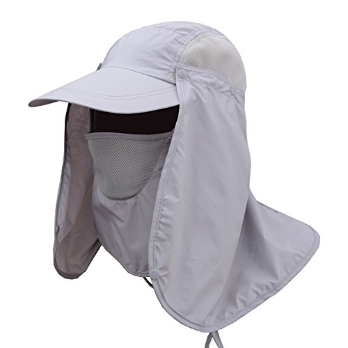 (Hulorry Fishing Hat,Outdoor Sun Hat Removable Multifunction Sport Folding Hat with Face Neck Flap Protection Cover UPF 50+ Sun Cap Hiking Fishing Outdoor Yard Garden Working)